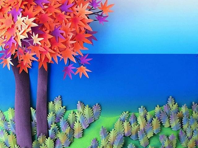 осенние поделки из цветной бумаги