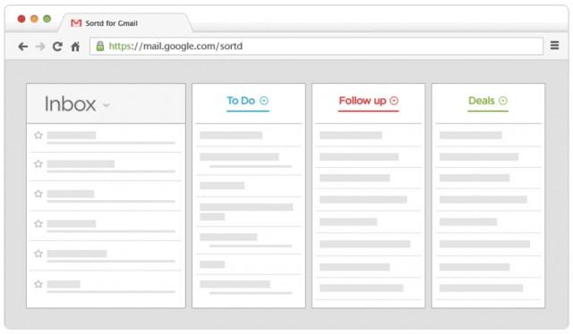 Интерфейс Sortd Gmail