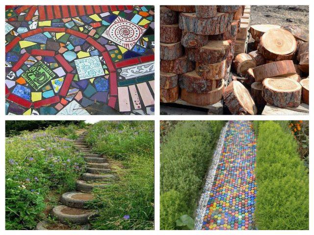 изготовление дорожки в саду своими руками из подручного материала.