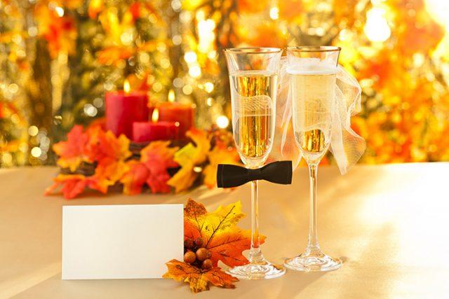 Осенние свадебные бокалы