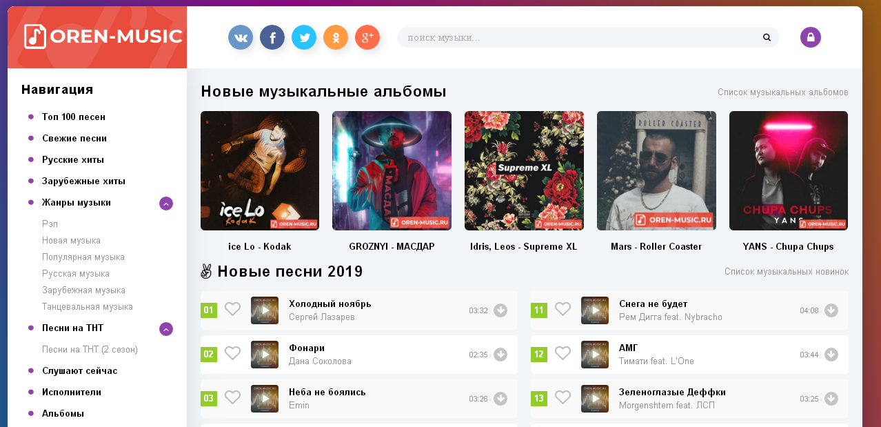 Топ сайтов с музыкой онлайн интервью для создания сайта